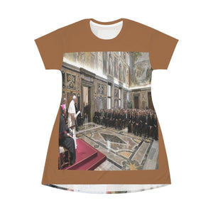 AOP T-shirt Dress - Pope speaks in favor of a truthful press - Back teen climate change activist Greta Thunberg meets Pope All Over Prints Printify