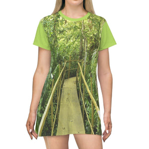 AOP T-shirt Dress - Pterocarpus (coast swamp) forest in Palmas del Mar - Puerto Rico All Over Prints Printify