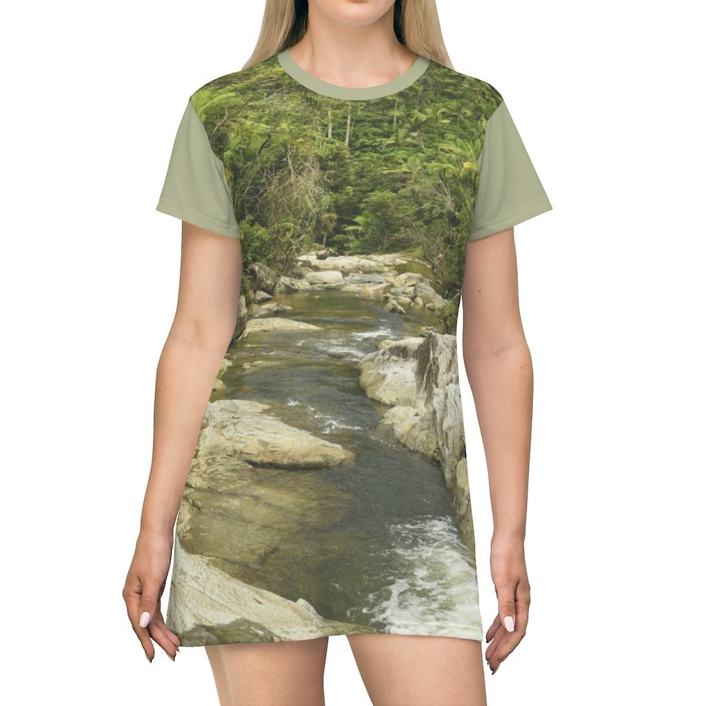 AOP T-shirt Dress - Rio Sabana and Gabi in Mameyes river - El Yunque rainforest - PR - Yunque Store
