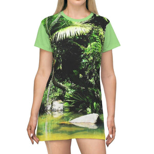 AOP T-shirt Dress - Rio Sabana cool-pleasure Pond and park shelters - Naguabo - El Yunque PR All Over Prints Printify