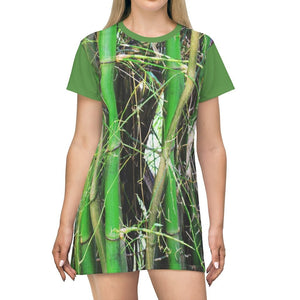 AOP T-shirt Dress - Rio Sabana park - Bamboos and Cyclists in back - Puerto Rico - Yunque Store
