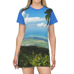 AOP T-shirt Dress - Sharp view from yunque peak at 3k feet of PR coast - El Yunque rainforest - Puerto Rico - Yunque Store