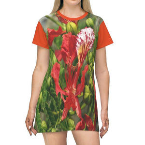 AOP T-shirt Dress - Single piece of Flamboyan tree red flower - abela - Puerto Rico - Yunque Store