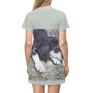 AOP T-shirt Dress - Sleeping puppy - Humacao - Puerto Rico All Over Prints Printify