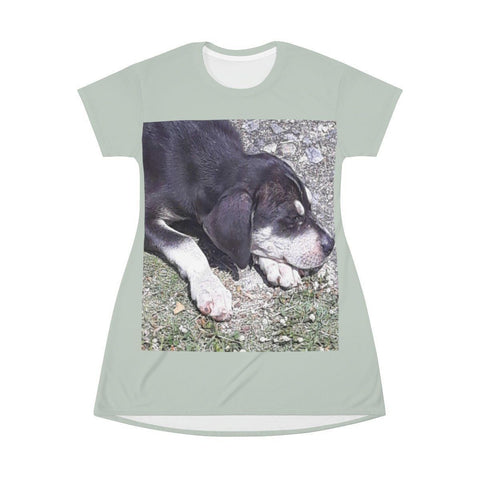 Image of AOP T-shirt Dress - Sleeping puppy - Humacao - Puerto Rico All Over Prints Printify