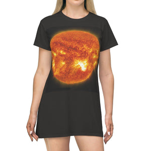 AOP T-shirt Dress - Solar Flares - The Macro Universe All Over Prints Printify