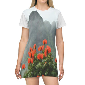 AOP T-shirt Dress - Telephoto view from Yokahu tower after storm - meaito flowers - El Yunque - Puerto Rico - Yunque Store