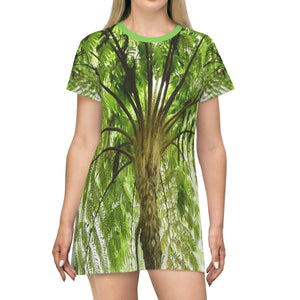 AOP T-shirt Dress - The ancient Fern Palm - Toro Negro - Puerto Rico - Yunque Store