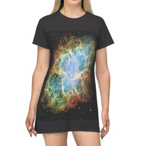 AOP T-shirt Dress - The Crab nebula - old Supernova - and Eye system - The Macro universe All Over Prints Printify