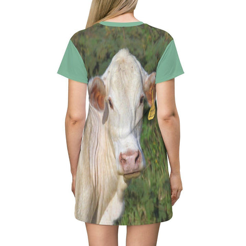 Image of AOP T-shirt Dress - The curious Cow - Puerto Rico All Over Prints Printify