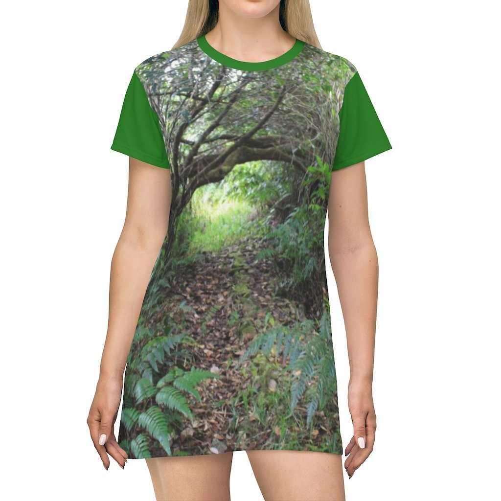 AOP T-shirt Dress - The dense undergrowth before Hurricane Maria in El Yunque PR - 14 km Tradewinds trail - Yunque Store
