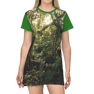 AOP T-shirt Dress - The dense undergrowth before Hurricane Maria in El Yunque PR - the cloud forest in a sunset - Tradewinds trail - Yunque Store
