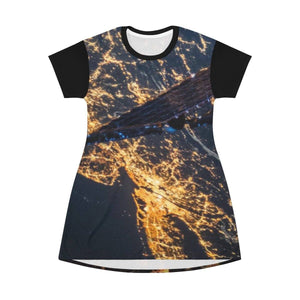 AOP T-shirt Dress - The East Coast and LA CA from ISS NASA Space station - The Macro Universe All Over Prints Printify