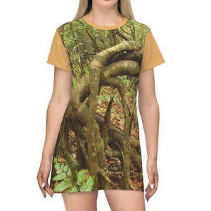 AOP T-shirt Dress - The incredible Dancing trees in Tradewinds trail - El Yunque rainforest - Puerto Rico All Over Prints Printify