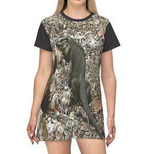 AOP T-shirt Dress - The native Mona Island Iguana near Pajaros beach - Mona Puerto Rico - Yunque Store