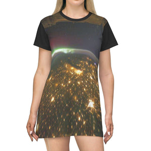 AOP T-shirt Dress - The US Midwest & aurora borealis from the NASA Space station - The Macro Universe All Over Prints Printify