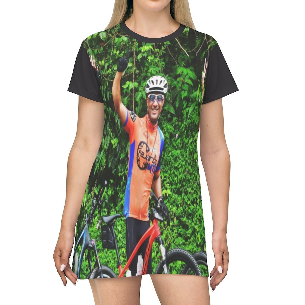 AOP T-shirt Dress - Three Cyclists up 1500 feet to Rio Sabana Park - El Yunque PR - Yunque Store