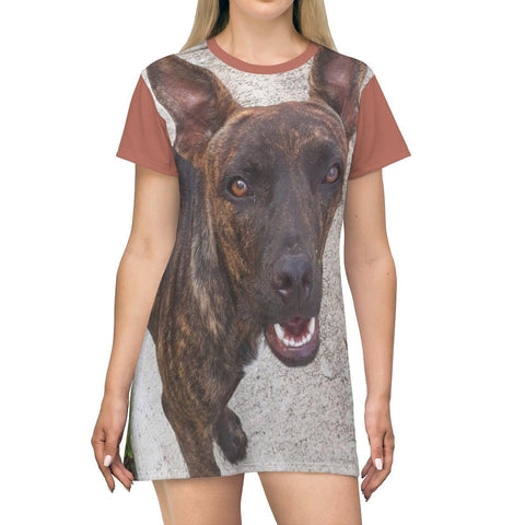 Image of AOP T-shirt Dress - Truly Friendly stray dog - Humacao - Puerto Rico All Over Prints Printify