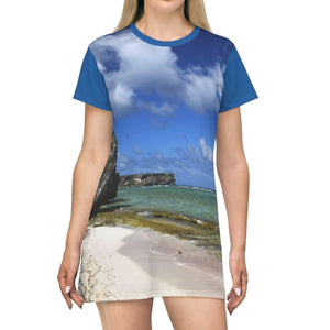 AOP T-shirt Dress - Two Middle-beach Views of Pajaros beach of Mona Island - Puerto Rico All Over Prints Printify