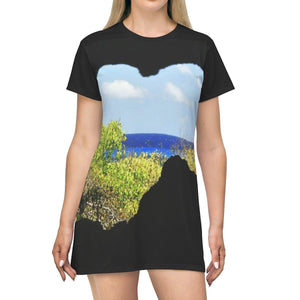 AOP T-shirt Dress - Two views from Caves of the coast - Mona Island - Puerto Rico All Over Prints Printify
