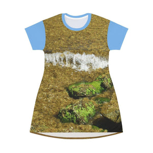 AOP T-shirt Dress - Two Views of the algae-filled coast at the time - Mona Island - Puerto Rico All Over Prints Printify