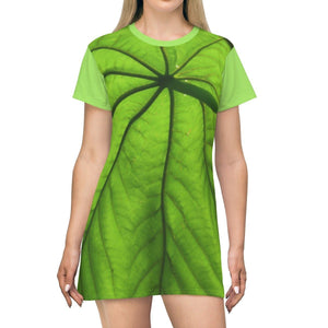 AOP T-shirt Dress - Two views of the versatile Yagrumo Tree Leaf - green and dry (brown) - El Yunque rainforest - Puerto Rico All Over Prints Printify