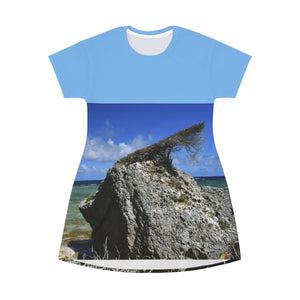 AOP T-shirt Dress - Very rare bonsai-like shrub that grows on a coastal boulder shaped by the beach winds - Mona Island - Puerto Rico All Over Prints Printify
