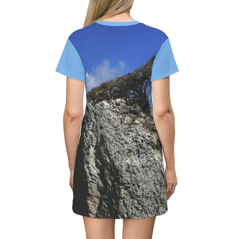Image of AOP T-shirt Dress - Very rare bonsai-like shrub that grows on a coastal boulder shaped by the beach winds - Mona Island - Puerto Rico All Over Prints Printify