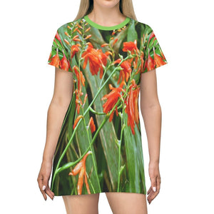 AOP T-shirt Dress - Very Rare tropical flowers at the highest PR road - Toro Negro - Puerto Rico - Yunque Store