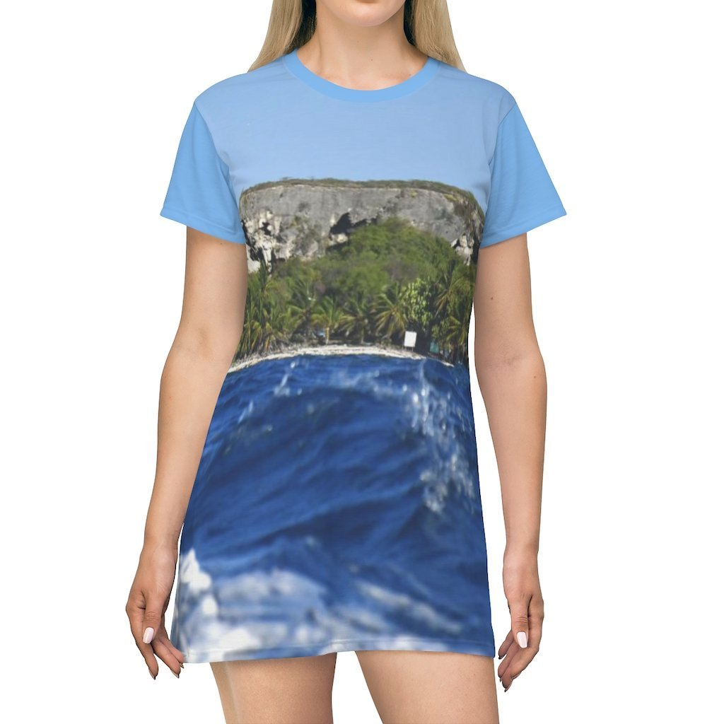 AOP T-shirt Dress - View from boat were we see caves and the coastal forest - Mona Island - Puerto Rico - Yunque Store