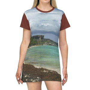 AOP T-shirt Dress - View from Pajaro beach of Mona's limestone plateu - Puerto Rico All Over Prints Printify