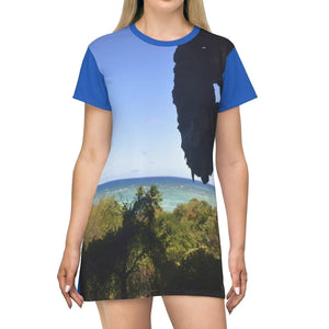 AOP T-shirt Dress - View of Pajaros beach from a cave - Puerto Rico All Over Prints Printify