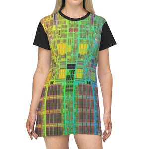 AOP T-shirt Dress - Wafers for the Intel I5 and I7 CPU's - The Code Universe - Tech History All Over Prints Printify
