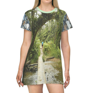AOP T-shirt Dress - Walking in Carite bridge and Mt Britton trail in El Yunque - Puerto Rico All Over Prints Printify