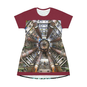 AOP T-shirt Dress - Woman Scientist work at CERN LHC Particle Accelerator - France - The Micro Universe All Over Prints Printify