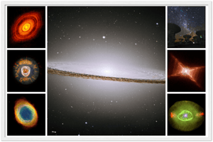 ASTRO-FANS Gelato Global Print - Premium Semi-Glossy Paper Wooden Framed Poster - The awesome El Sombrero galaxy with nebulas and the Atacama radio astronomy center - HUBBLE - Yunque Store