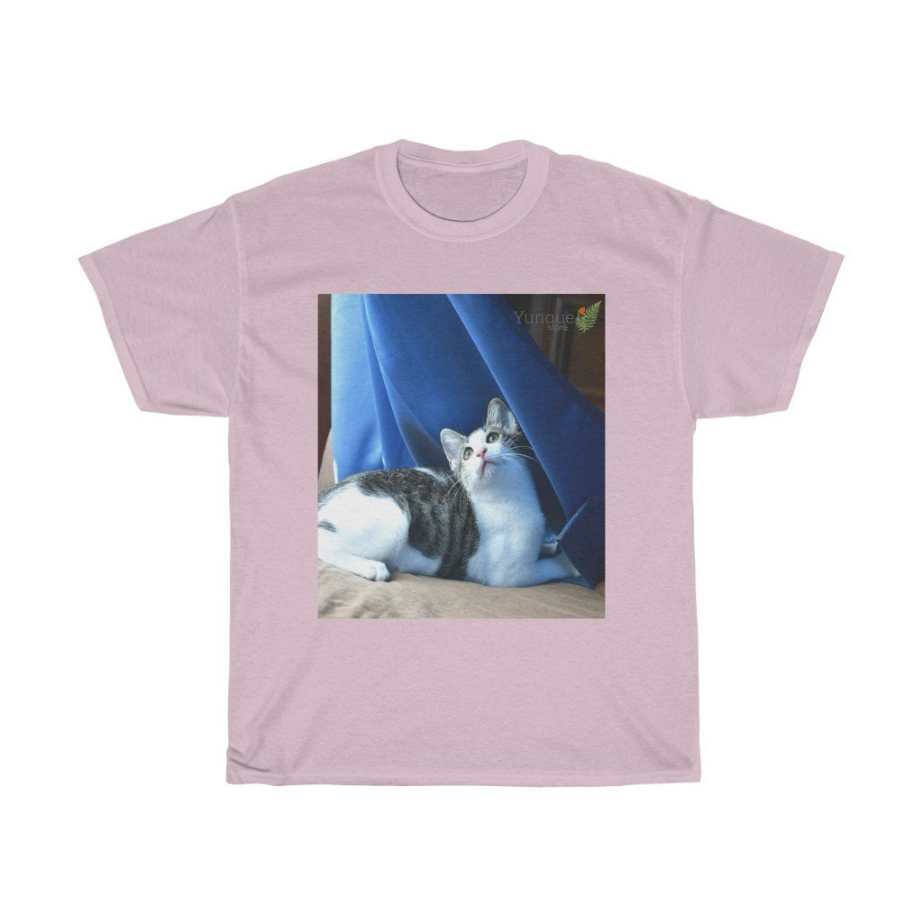 AU Print - Gildan 5000 - Unisex Heavy Cotton Tee - Home Baby Cat Dante Dazzled by the curtains and wind - Puerto Rico - Yunque Store