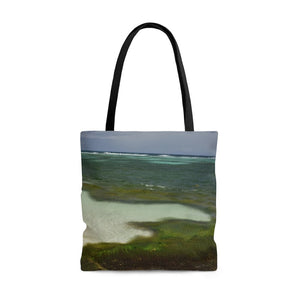 AWESOME AOP Tote Bag - Remote & Pristine Mona Island near Puerto Rico - algae ART in Pajaros beach - Yunque Store