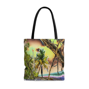 AWESOME AOP Tote Bag - Remote & Pristine Mona Island near Puerto Rico - color curves manually modified for special effects - Yunque Store