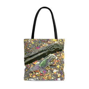 AWESOME AOP Tote Bag - Remote & Pristine Mona Island near Puerto Rico - native iguana in uvero tree leaves -- color curve manually modified for art - Yunque Store