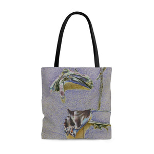 AWESOME AOP Tote Bag - Remote & Pristine Mona Island near Puerto Rico - sea shells and sticks - color curve manually modified for contrast - Yunque Store