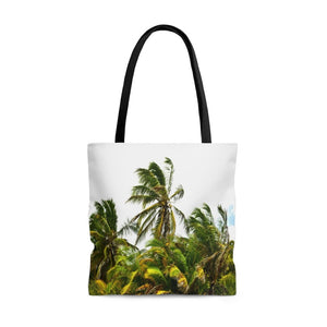 AWESOME AOP Tote Bag - Remote & Pristine Mona Island near Puerto Rico - the JOY of a coconut palm forest right in the windy beach! - Yunque Store