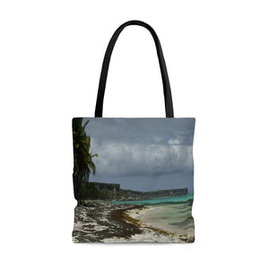 AWESOME AOP Tote Bag - Remote & Pristine Mona Island near Puerto Rico - wide view from Pajaros beach on a rare cloudy day - Yunque Store