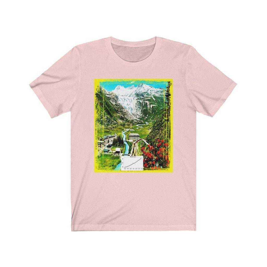 Awesome Bella+Canvas 3001 - USA Made - Unisex Jersey Short Sleeve Tee - Global Warming in action - Swiss Rhone Glacier melts 4,265 feet in 120 years - Front the glacier today, back in the 19th century T-Shirt Printify