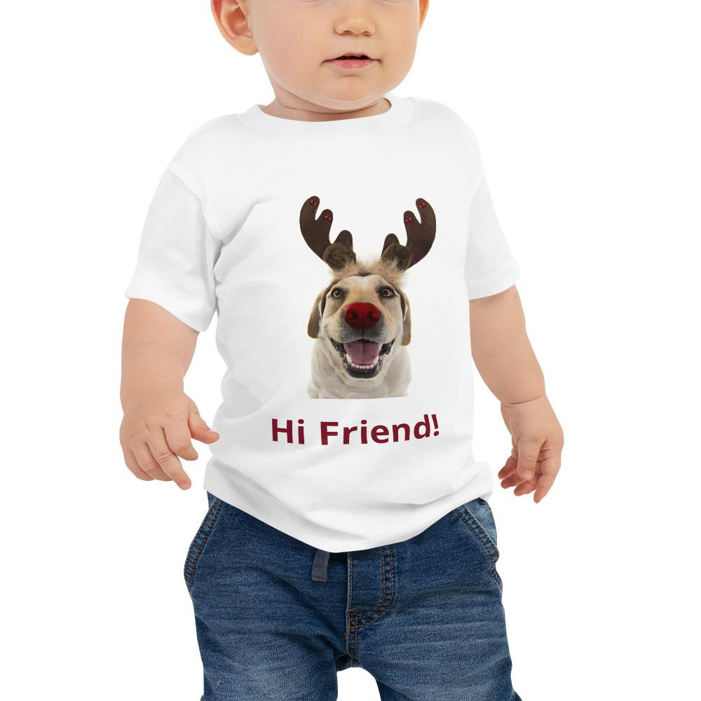 "Baby Jersey Short Sleeve Tee - Funny dog that says 'Hi Friend!"" - Yunque Store"
