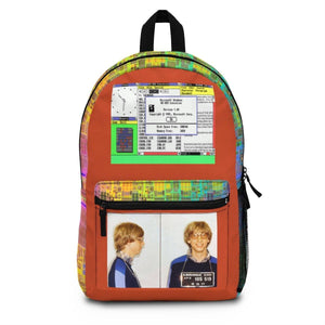 Backpack (Made in USA) - - Historic 1977 Mug shot of Bill Gates for speeding in NM and windows 3.1 and intel I7 design in edges Bags Printify
