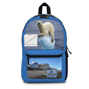 Backpack (Made in USA) - The Ice Poles are melting FAST - rising the sea level. Help that Bear! The Mouna Loa observatory Bags Printify