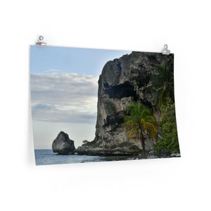 BEACH WONDERS - Premium Matte horizontal posters -- Remote & Pristine Mona Island near Puerto Rico - Dry tree on the beach - Pajaros beach & cave edge near sunset - US PRINT - Yunque Store