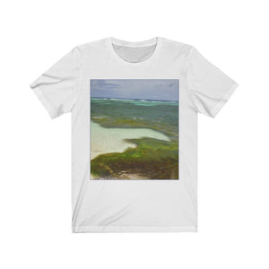 BELLA+CANVAS 3001 - Unisex Jersey Short Sleeve Tee - Remote & unique MONA ISLAND PR - Beach algae, sticks, trunks, shells ART formations from the tide - Yunque Store