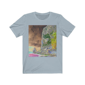 BELLA+CANVAS 3001 - Unisex Jersey Short Sleeve Tee - Remote & unique MONA ISLAND PR - Pajaro beach and caves - color curve manually modified for contrast & hidden details in front - normal color in back - Yunque Store